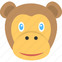 animal face, baby monkey, brown face monkey, brown monkey, monkey face icon
