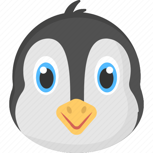animated face, arctic animal, baby penguin, baby penguin face, penguin face icon
