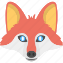 animal face, blue eyed fox, clever fox, fox face, red fox icon