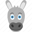 baby donkey, domestic animal, donkey face, foal face, smiling donkey icon