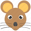 animal face, brown mouse, cute mouse, large whiskers, mouse face icon