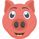 animal face, baby pig, cute pet, cute piglet, piglet face icon