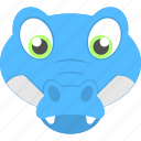 animal face, baby alligator, baby face, blue hatchling, cute pet icon
