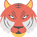 angry tiger, animal, fierce tiger, red tiger, tiger face icon