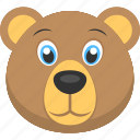 animal, animated bear face, baby bear, bear face, cute bear face icon
