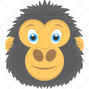 animal, gorilla face, hairy gorilla, happy gorilla, monkey icon