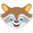 animal face, baby raccoon, baby raccoon face, brown raccoon, brown raccoon face icon