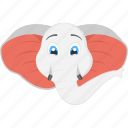 baby elephant, elephant face, large ears, white elephant face, white trunk icon