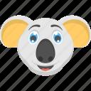 baby animal, baby koala bear, koala bear face, pet animal, white koala bear icon