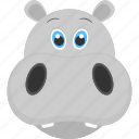 baby hippo, baby hippo face, grey face, grey hippo, mammal icon