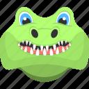 animal, crocodile face, crocodile teeth, green crocodile, reptile icon