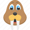 animated sea lion, baby sea lion, long teeth, sea creature, sea lion face icon