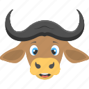 brown ox, forest, large horns, ox face, wild animal icon