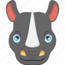 fierce rhino, pointed horn, rhino face, rhinoceros, wild animal icon
