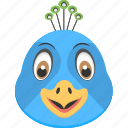 animal, blue bird, blue peacock, peacock face, smiling peacock icon