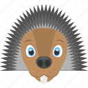 animated hedgehog, black thorns, brown hedgehog, hedgehog face, wild animal icon