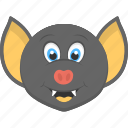 animal, animated bat, bat face, fauna, smiling bat icon