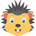 baby hedgehog, hedgehog face, smiling hedgehog, wild animal, yellow hedgehog icon