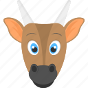 adorable cub, baby cow, brown cow, cow face, domestic animal icon