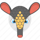 animated animal, armadillo face, black armadillo, forest, wild animal icon