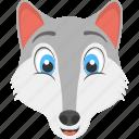 fox face, mountain fox, smiling fox, white fox, wild animal icon
