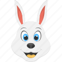 pet animal, rabbit face, smiling rabbit, white animal, white rabbit icon