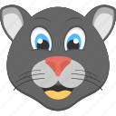 animated panther, baby panther, black panther, panther face, smiling panther icon