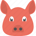 animal, pig face, pigling, red pig, red pig face icon