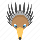 animated animal, anteater face, brown anteater, fauna, wild animal icon