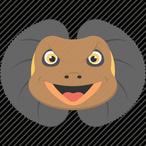 Brown lizard, fierce lizard, frilled lizard, lizard face icon - Download on Iconfinder