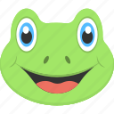 animal, aquatic life, face, frog, smiling icon
