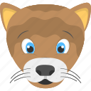 animated baby lion, cub face, fauna, smiling cub, wild animal icon