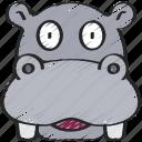 animal, animals, avatars, hippo, nature, wildlife icon