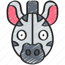 animal, animals, avatars, nature, wildlife, zebra icon