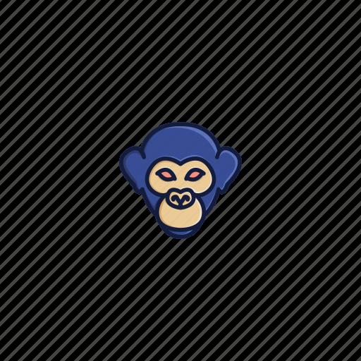 animal, character, chimpanzee, face, head, jungle, wild icon