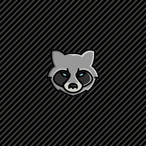 animal, character, face, head, jungle, raccoon, wild icon