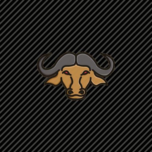 animal, buffalo, character, face, head, horn, wild icon