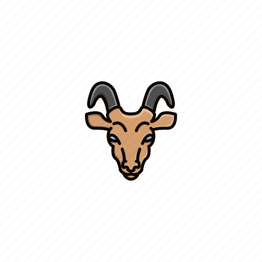 animal, character, face, farm, goat, head, horn icon