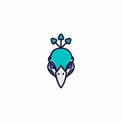 animal, bird, character, face, head, jungle, peacock icon