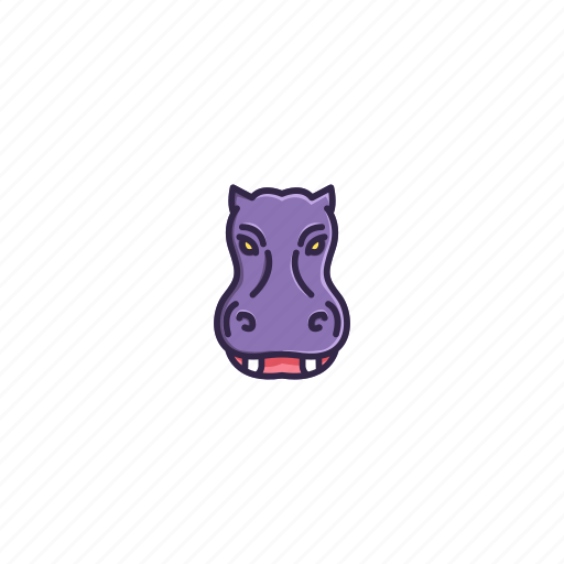 animal, character, face, head, hippo, river, wild icon