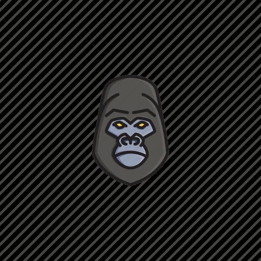 animal, character, face, gorilla, head, jungle, wild icon