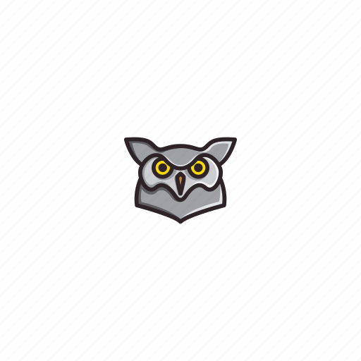 animal, bird, character, face, head, night, owl icon