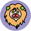 animal, cartoon lion, fun, lion, lion face, lion hair, wild animal icon