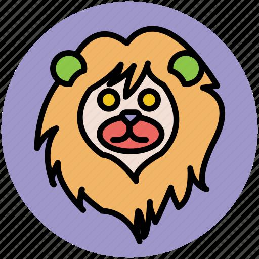 animal, cartoon lion, fun, lion, lion face, lion hair, wild animal icon