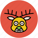 animal, face, head, reindeer, reindeer face, reindeer head icon