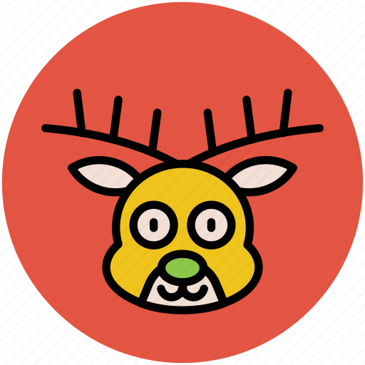animal, face, head, reindeer, reindeer face, reindeer head icon