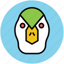 animal, hooter, owl, owl face, watchful owl icon