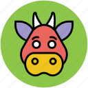 bovine animal, calf, cattle, cow, farm animal, ox icon