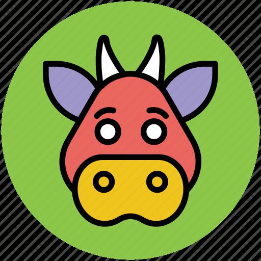bovine animal, calf, cattle, cow, farm animal, ox icon