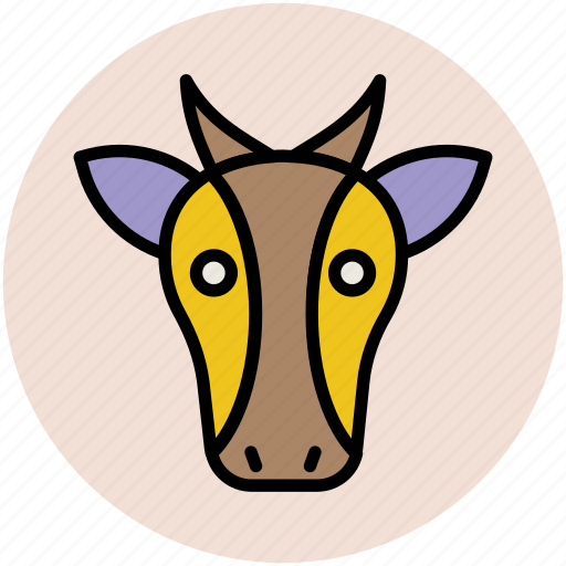 animal, cartoon cow, cow, cow face, mammal icon